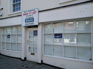 To Let sign, Guildford. The Death of the High Street?